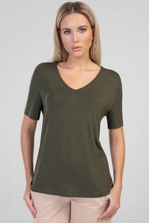 5308 Блуза Блуза женская прямого силуэта. Горловина V - образная с узкой бейкой. Рукав втачной, короткий.Цвет хаки.