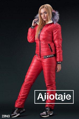 Зимний костюм красного цвета на овчинке