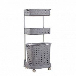 Стеллаж для белья и аксессуаров Х-8286 трехуровневый серый