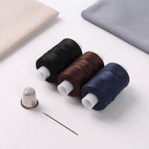 Набор ниток «Мастеровой», 100ЛЛ, 200 м, 3 шт, иголка, напёрсток, цвет МИКС