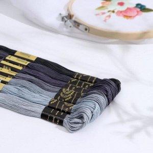 Набор ниток мулине «Цветик-Семицветик», 10 ± 1 м, 7 шт, цвет серый спектр