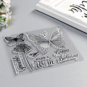 "Штамп для творчества силикон ""Бабочки и надписи"" 10,5х12 см"