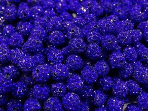 Бусины из полимерной глины и страз, цвет: синий, размер 10 мм, 1 шт.