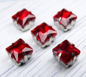Хрустальные стразы в цапах, цвет: красный, размер: 8х8 мм, 1 шт.