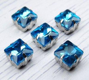 Хрустальные стразы в цапах, цвет: голубой, размер: 8х8 мм, 1 шт.