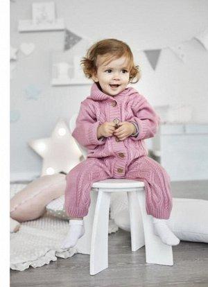 """Комбинезон вязаный Крошка Я """"Малышка"""", розовый, р.28, рост 86-92см"""