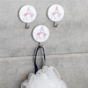 Набор крючков на липучке «Влюблённые фламинго», 3 шт