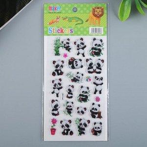 "Наклейка пластик ""Панды/Совы,еноты, бабочки"" МИКС 21х9,5 см"