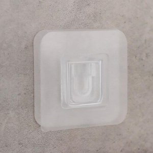 Крючок настенный двойной 6?6?0,5 см, цвет прозрачный