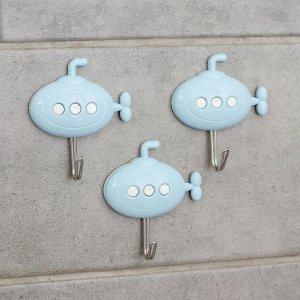 Набор крючков на липучке «Подводная лодка», 3 шт, цвет МИКС