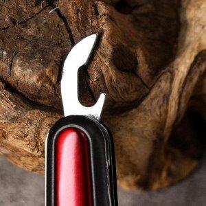 Нож швейцарский 11в1 рукоять красная с черным кантом