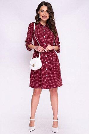 Платье Платье свободного силуэта из текстильного полотна,с центральной застежкой на петли и пуговицы до низа.Воротник отложной рубашечного типа. Рукав втачной по низу собранный на пату. 30% вискоза 65