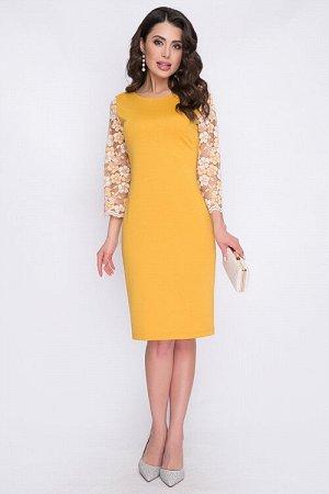 Платье Платье из трикотажного полотна джерси с рукавами из кружева. 50% вискоза,45% п/э,5% лайкра