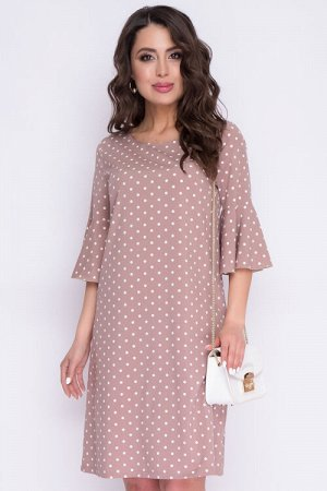 Платье Платье А-силуэта из текстильного полотна.Втачные рукава с притачными воланами по низу. 30% вискоза 65% п/э,5% эластан