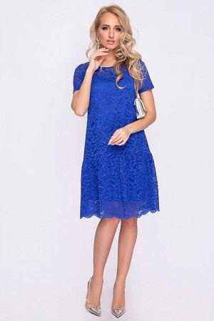 Платье Платье из кружевного полотна А-силуэта с притачным воланом,на подкладе из креп шифона. 30% вискоза 65% п/э,5% эластан