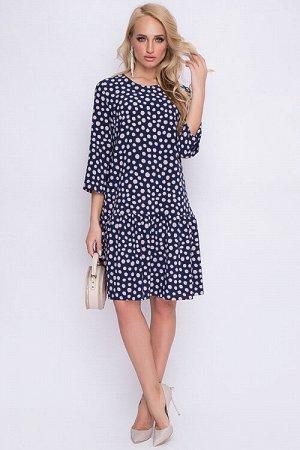 Платье Платье из текстильного полотна А-силуэта с притачным воланом по низу. 30% вискоза 65% п/э,5% эластан