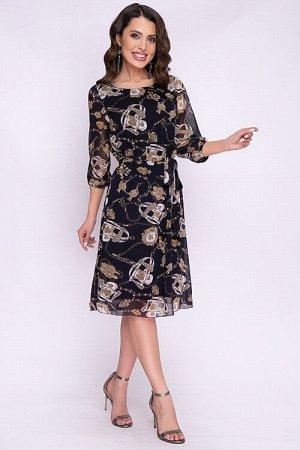 Платье Платье из шифона прямого силуэта на трикотажном подкладе.В комплекте пояс. 100% п/э