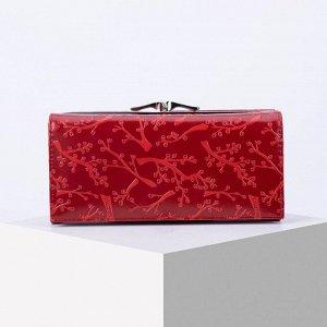 Кошелёк женский, 3 отдела на магните, 2 отдела на фермуаре, цвет красный 6491263