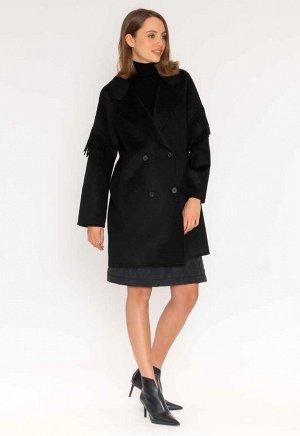пальто Двубортное пальто миди из полушерсти, ручной работы с ручной вышивкой. рукава реглан, боковые карманы, широкий воротник с лацканами. Бахрома, оригинальная деталь на спине.