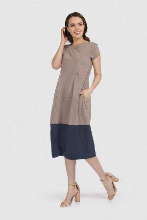 """Платье Платье """"баллон"""" с короткими рукавами. Округрый вырез горловины. Вид застежки - молния. Состав 69%хлопок, 28%полиэстер, 3%эластан"""
