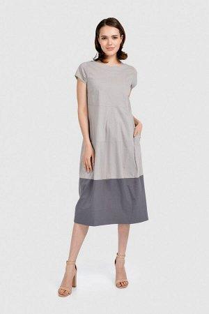 """Платье Платье """"баллон"""" с короткими рукавами. Карманы по бокам. Без рисунка. Округрый вырез горловины. Вид застежки - молния. Состав 69%хлопок, 28%полиэстер, 3%эластан"""