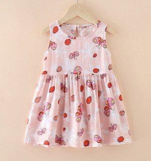 Платье для девочки, цвет светло-розовый, принт бабочки
