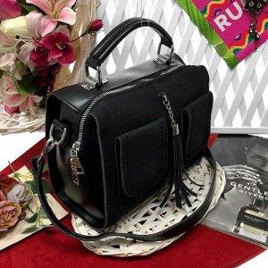 Стильная сумка-саквояж D'Oro с ремнем через плечо из качественной эко-кожи и искусственной замши чёрного цвета.