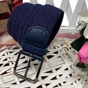 Длина 98 см. Текстильный плетеный ремень-резинка Safari унисекс темно-синего цвета.