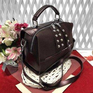 Стильная сумка-саквояж Seo_Mantana с ремнем через плечо из качественной эко-кожи и искусственной замши кофейного цвета