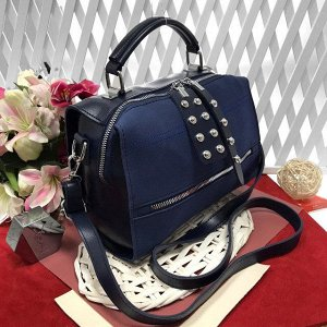 Стильная сумка-саквояж Seo_Mantana с ремнем через плечо из качественной эко-кожи и искусственной замши цвета тёмный индиго.