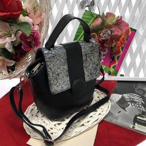 Кросс-боди Box_Diamond с ремнем через плечо из гладкой натуральной кожи чёрного цвета.