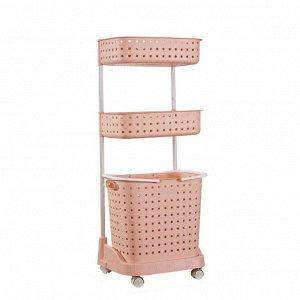 Стеллаж для белья и аксессуаров Х-8286 трехуровневый розовый