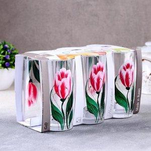 Набор стаканов GiDGLASS «Тюльпаны», 230 мл, 6 шт, в подарочной упаковке