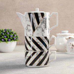 Набор чайный «Мрамор», 3 предмета: чайник 480 мл, 15?9?9 см, 2 кружки 280 мл, цвет МИКС