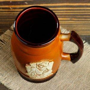"""Пивной бокал """"Банная дама"""", цвет коричневый, 0.6 л"""