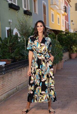 Платье 21NI-376 C  Платье M-2XL (4), 132 см, хлопок, с карманами, с поясом,  фон черный /принт