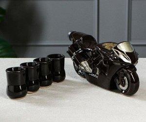 Штоф Байк Чёрный 0,5лит + 4 рюмки 1265977