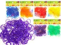 Набор цветных резиночек для плетения браслетов, п/э пакет, 300 резиночек, 1 цвет в упаковке, всего 6 цветов в коробке, АРОМАТИЗИРОВАННЫЕ