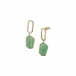 Материал: латунь, титан, зелёный авантюрин, латунное покрытие. Размер серьги: ширина 1 см, длина 2 см (подвеска) + 2 см (камень).* Серьги «Безусловная любовь»