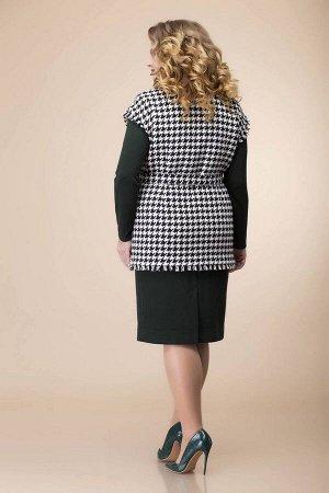Жилет, платье Romanovich Style 3-2090 белый/черный/зеленый