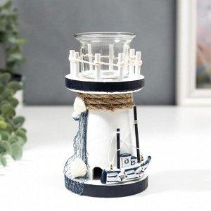 """Подсвечник дерево. стекло на 1 свечу """"Маяк и лодка"""" 15х8.5х8.5 см"""