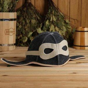 "Набор для бани ""Летчик"" серый: шапка, коврик, рукавица"