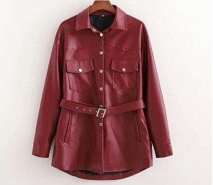 Куртка-рубашка из иск. кожи,бордо
