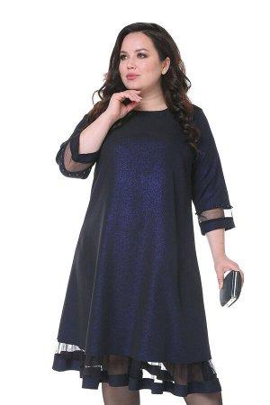 Платье блестящее с сетчатой вставкой