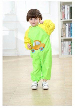 """Детский непромокаемый комбинезон, принт """"Машинка"""", цвет  зеленый"""