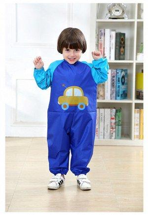 """Детский непромокаемый комбинезон, принт """"Машинка"""", цвет  синий"""