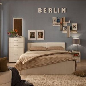 BERLIN 32 (спальня) Кровать со стационарным основанием (1600) металл