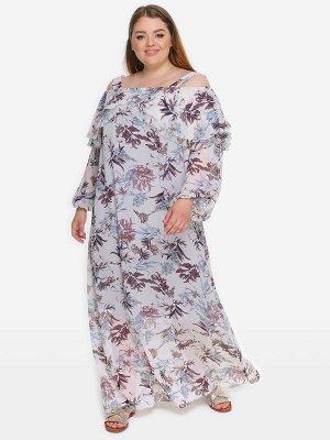 """Платье с двойным воланом по горловине, шифон принт """"нежность"""""""