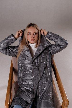 """Куртка деми с трикотажными вставками  цвет """"металлик"""""""