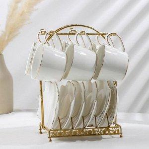 Сервиз чайный «Бланш», 12 предметов: 6 чашек 220 мл, 6 блюдец 17,5?13 см, на металлической подставке